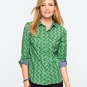 Talbots Green Houndstooth Horse Print Shirt Sz XS